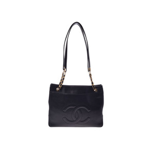 Second-hand Chanel Chain Tote Caviar Skin Black G Fitting Bag