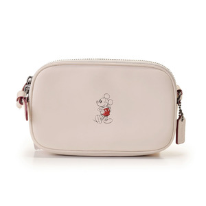 Used Coach Shoulder Bag Disney Collaboration Limited Mickey Mouse Leather Ivory F59072 Outlet Unused