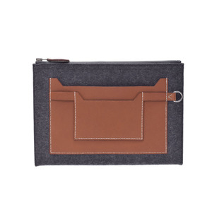 New Article Hermes Clutch Bag Too Do 29 Felt Leather Gray Tea A Stamp Box