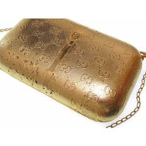 Shoulder Bag Gg Pattern Metal Clutch Gold 0274 Ladies'