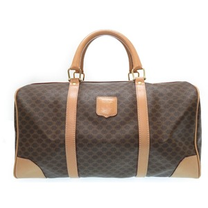 Celine Pigeon Brown Pvc Leather Boston Bag Travel 0517