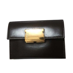 Salvatore Ferragamo Leather Coin Case Card Brown 0550 Unisex