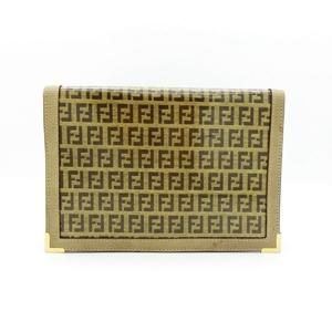 Fendi Enamel ズッカ Women's Leather Clutch Bag Brown