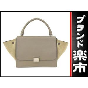 Celine Calf Trapez 2 Way Hand Shoulder Bag Gray × Khaki 174683