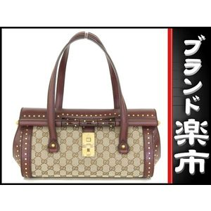 Gucci Bamboo Gg Canvas × Boston Handbag With Leather Studs Brown Series Red Tea 114993 Bag