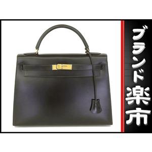 Hermes Kelly 32 Box Calf 2 Way Bag Black X Embossed