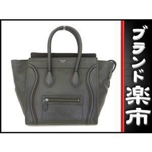 Celine Leather Luggage Mini Shopper Hand Tote Bag Black