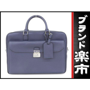 Dunhill Leather 2way Business Bag Navy