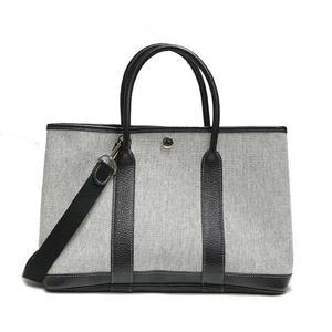 Hermes Garden Party Tpm Gray × Black H Tote Bag Women's
