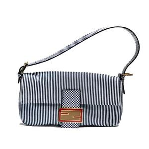 Fendi Mumma Bucket Shoulder Bag 8br 600 Blue × White Ladies'