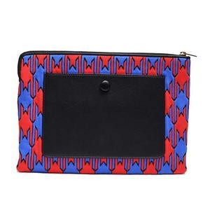 Celine Clutch Bag 104233 Yda Red × Blue Black Felt Ladies