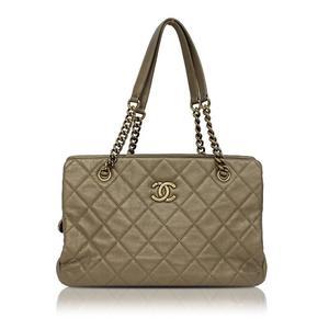 Chanel Matrasse Chain Shoulder Bag Bronze Gold Hardware Women's