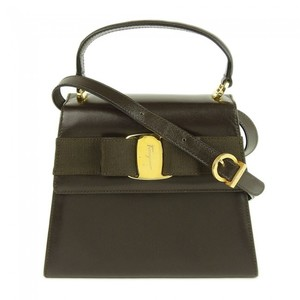 Salvatore Ferragamo Vara Leather Handbag Dark Brown