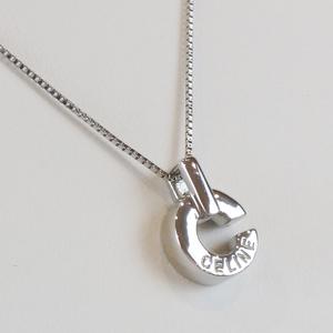 Celine Pt 900 / 850 0.01 Ct Ruby C Logo Top Necklace