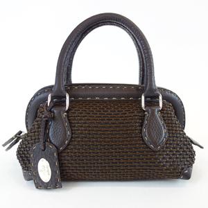 Fendi Celia Dark Brown Leather Mini Doctors Handbag Bag