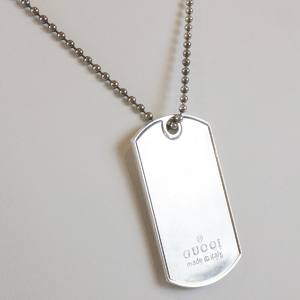 Gucci Dog Tag Plate Sv925 Ball Chain Pendant Necklace