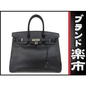 Hermes Birkin 35 Box Calf Black Silver Hardware □ F Engraved Bag