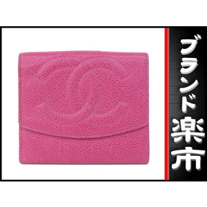 Chanel Caviar Skin W Hook Compact Wallet Pink