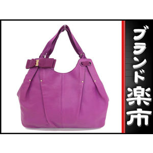 Salvatore Ferragamo Valara Ribbon Leather Handbag Purple Bag