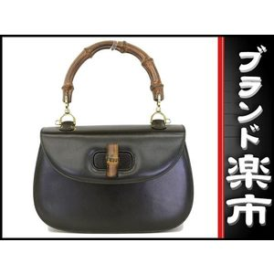 Gucci Bamboo Calf 2 Way Handbag Black Bag