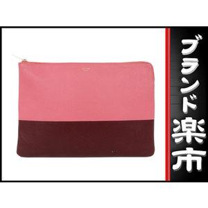 Celine Leather Bai Color Clutch Bag Pink Bordeaux