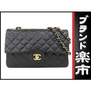Chanel Lambskin W Flap Matrasse Shoulder Bag Black Gold Hardware 2 Series