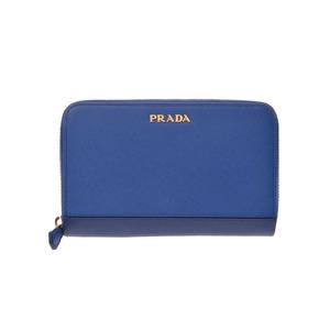 プラダ(Prada) 中古 プラダ ラウンドファスナー財布 サフィアーノ ブルー アウトレット ギャラ 1M1157 新同 PRADA