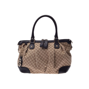 Used Gucci Diamante Handbag Canvas Leather Beige Series × Black