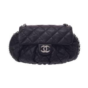 Used Chanel Matrasse Chain Around Shoulder Bag Lambskin Black Sv Bracket
