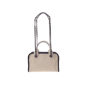 Second-hand Chanel 2 Way Bowling Bag Caviar Skin Ivory Type Black Sv Bracket