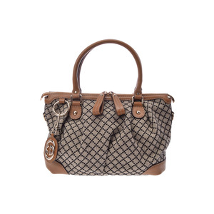 Used Gucci 2 Way Handbag Diamante Calf Canvas Caramel Beige