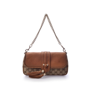 Used Gucci 2 Way Shoulder Bag Gg Pattern Calf / Canvas Brown G Hardware Fringe