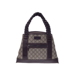 Used Gucci Gg Plus Handbag Pvc Leather Dark Brown