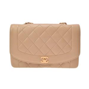 シャネル(Chanel) 中古 シャネル マトラッセ チェーンショルダーバッグ ラムスキン ベージュ G金具 ダイアナ ギャラ CHANEL