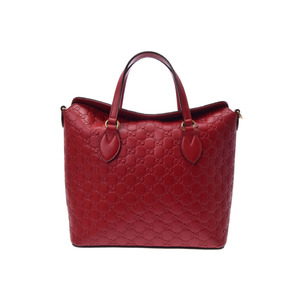 Used Gucci Signature Handbag With Red Calf Strap New Same