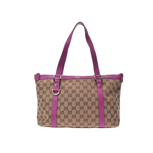 Used Gucci Tote Bag Gg Canvas Leather Beige / Purple