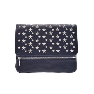 Used Jimmy Choo Clutch Bag Star Studded Leather Navy