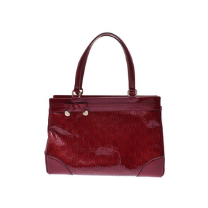 Used Gucci Tote Bag Mayfair Patent Leather Red