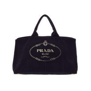 プラダ(Prada) 中古 プラダ カナパGM キャンバス 黒 トートバッグ PRADA