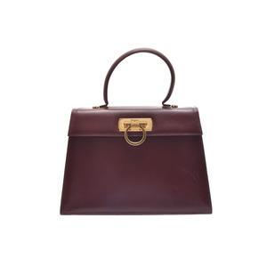 Salvatore Ferragamo Used Ferragamo Gantini 2 Way Bag Leather Tea With Strap