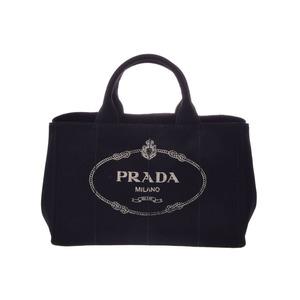 プラダ(Prada) 中古 プラダ カナパ 2WAYトートバッグ キャンバス 黒 ストラップ付 1BG642 PRADA