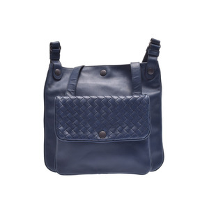 Used Bottega Veneta Shoulder Bag Navy Leather