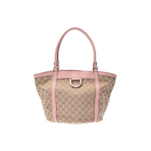 Used Gucci Shoulder Bag Gg Canvas Leather Beige Pink