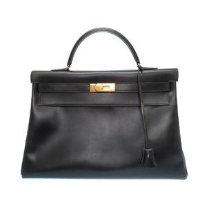 Hermes Kelly 40 Handbag Box Calf Black Gold Hardware □ B Engraved Bag 0080