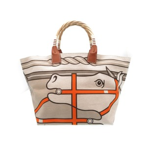 Hermes Steep Le Toval Ash Straw Leather Gurege Horse Pattern Tote Bag □ O Engraved (Made In 2011) 0110