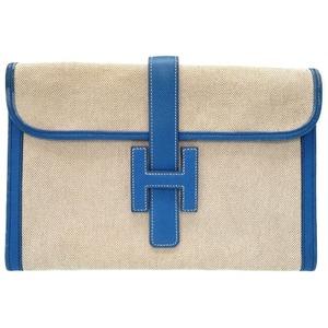 Hermes Jeje Blue France Towar Ash Cushbell 〇 X Engraved (Made In 1994) Clutch Bag 0107