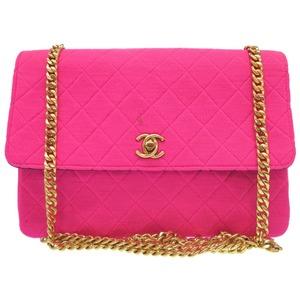 Chanel Jersey Pink Matrasse Coco Mark Turn Rock Gold Hardware Shoulder Bag Womens 0109