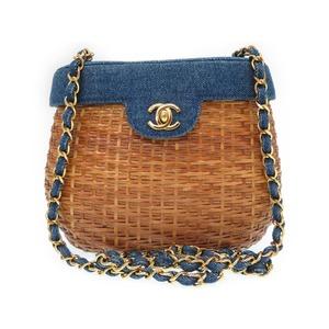 Chanel Denim Straw Coco Mark Gold Chain Basket Bag Shoulder Ladies' 0393 Chanel