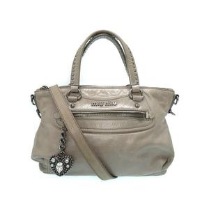 Miu Miu Miu 2 Way Bag Handbag Leather Gray Women's 0245 Miumiu