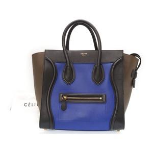 Celine Luggage Mini Shopper Handbag Toriko Color Blue / Black Gray 0212 Celine Bag